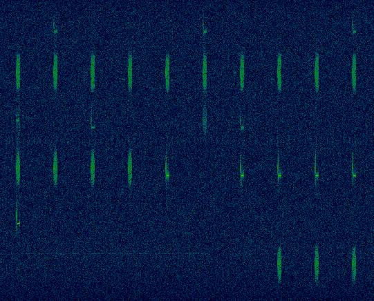 Wide view of Iridium bursts on several frequencies